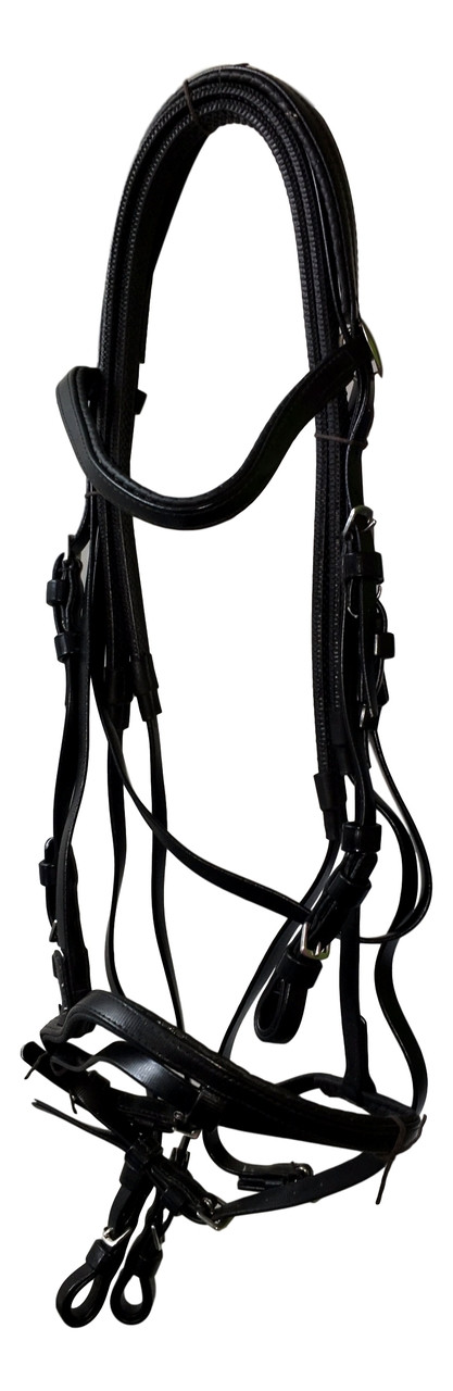 PVC Bridle with Rubber Reins Black