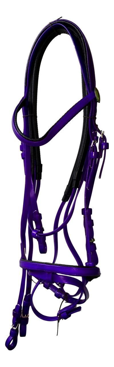 PVC Bridle with Rubber Reins Purple