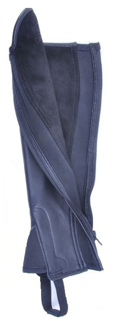 Black Leather and Suede Reversible Gaiter