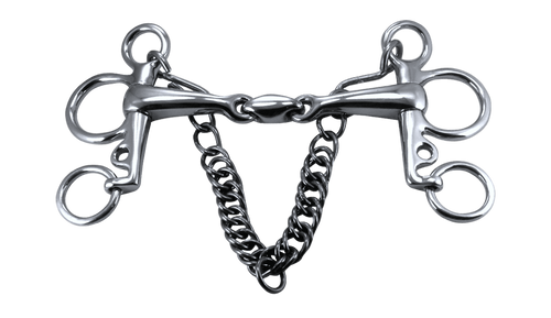 Pelham Snaffle Horse Bit Stainless Steel with KK Style Link 100mm