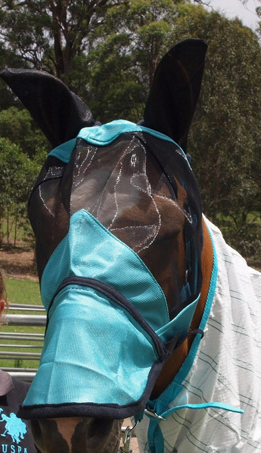 Teal HORSE FLY VEIL / Fly Mask With Zip Off Nose
