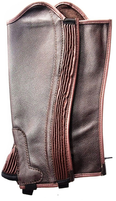 Soft Leather Gaiters with Ribbed Covered Elastic Gusset