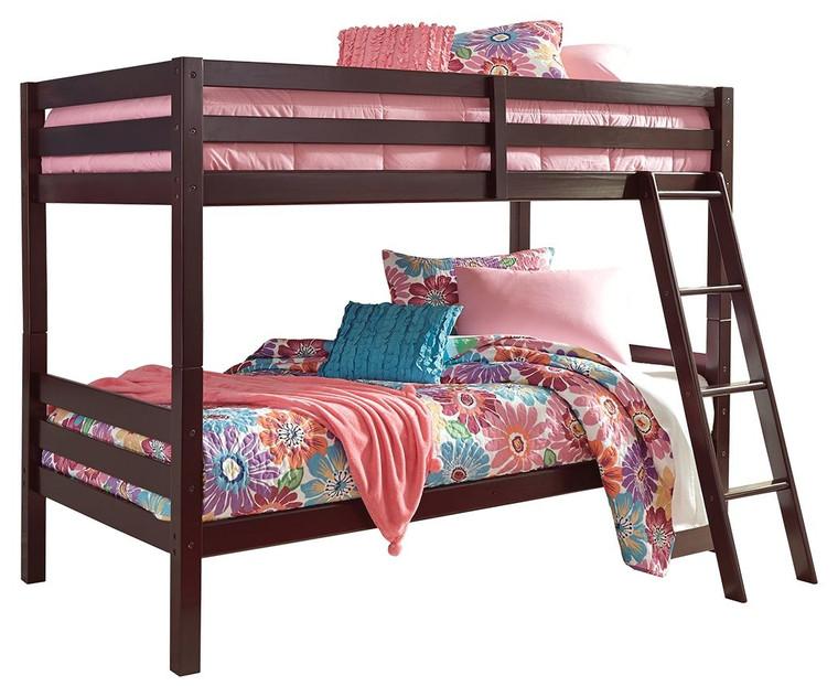 Halanton Twin/Twin Bunk Bed w/Ladder | Dark Brown | B328-59