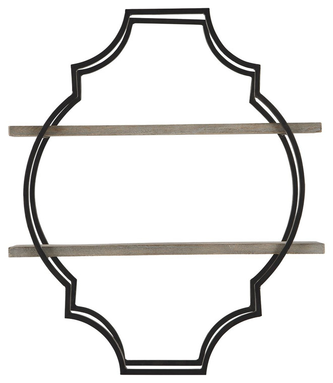 Candon Wall Shelf   Antique Gray/Black   A8010108