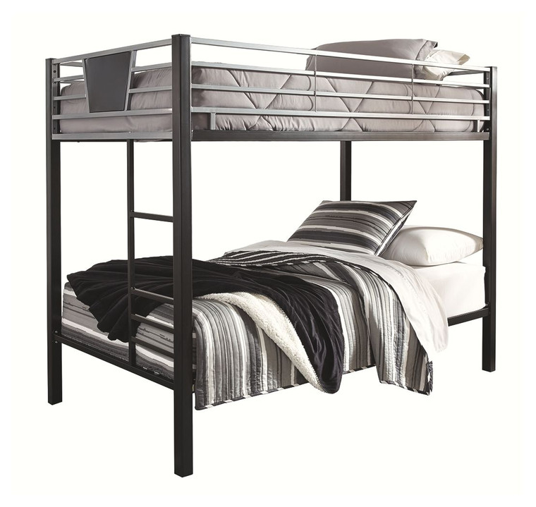 Dinsmore Twin/Twin Bunk Bed w/Ladder | Black/Gray | B106-59