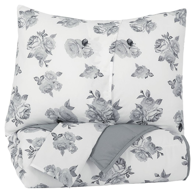 Meghdad 3-Piece Full Comforter Set | Gray/White | Q426003F