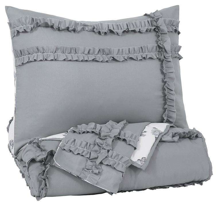 Meghdad 2-Piece Twin Comforter Set   Gray/White   Q426001T