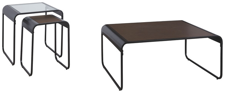 Larzeny Table (Set of 3) | Brown/Black | T151-13