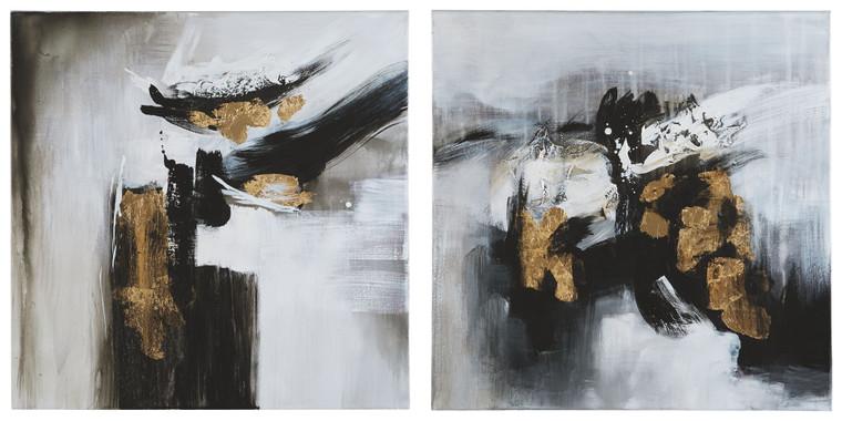 Jerrin Wall Art (Set of 2) | Black/White/Gold Finish | A8000275