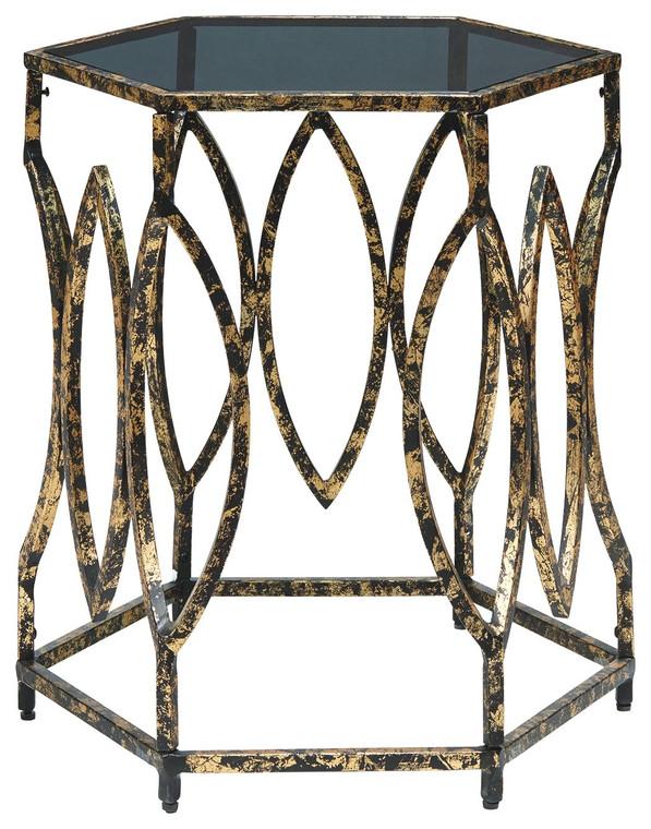 Keita Accent Table   Black/Gold Finish   A4000273