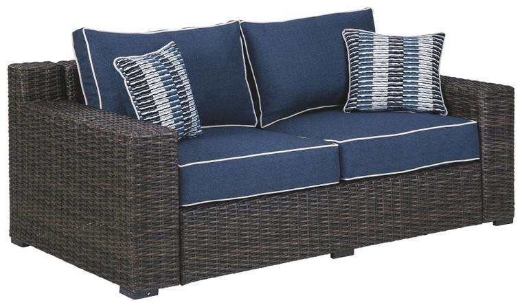Grasson Lane Loveseat w/Cushion   Brown/Blue   P783-835