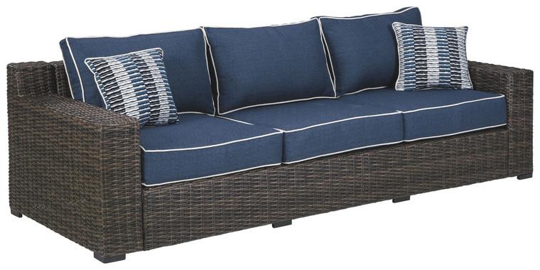 Grasson Lane Sofa with Cushion | Brown/Blue | P783-838