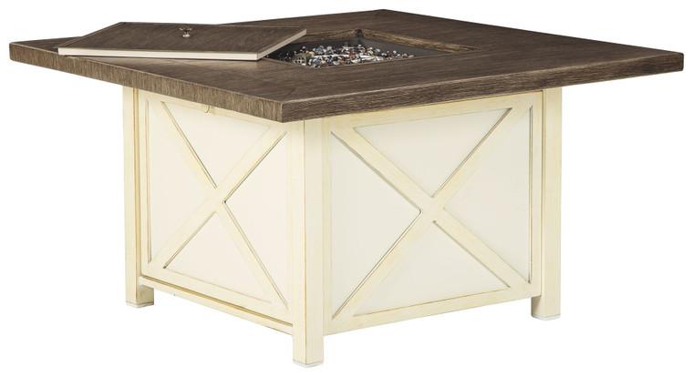 Preston Bay Square Fire Pit Table | Antique White | P460-772