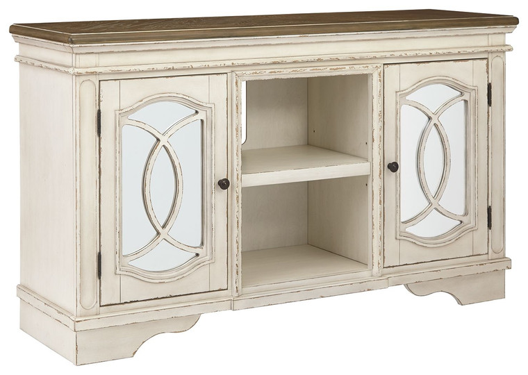 Realyn Large TV Stand | Chipped White | W743-48
