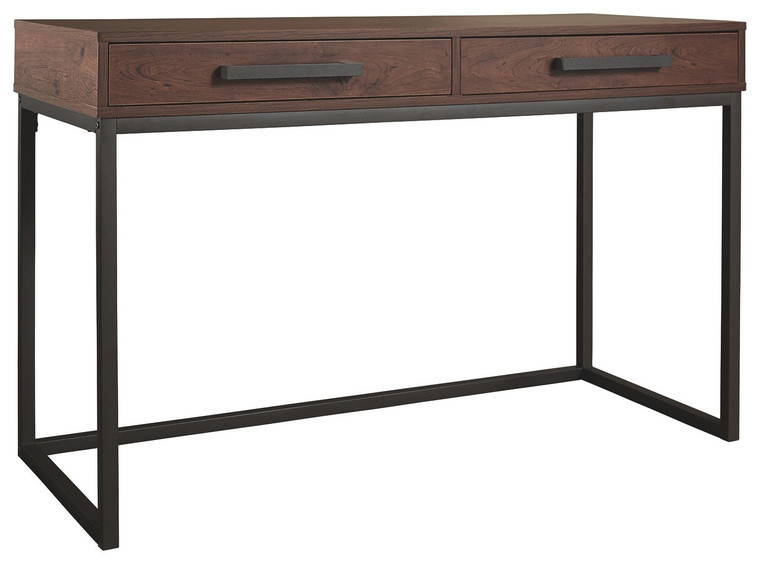Horatio Home Office Small Desk | Warm Brown/Gunmetal | Z1610999
