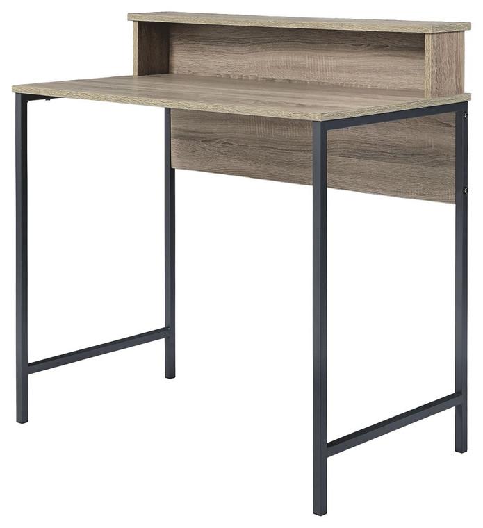 Titania Home Office Small Desk | Light Brown/Gunmetal | Z1610744