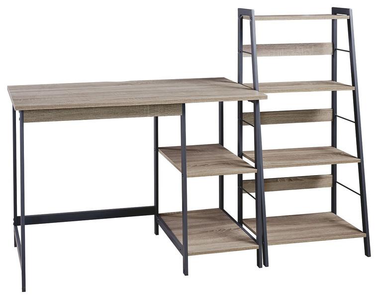 Soho Home Office Desk and Shelf | Light Brown/Gunmetal | Z1411838