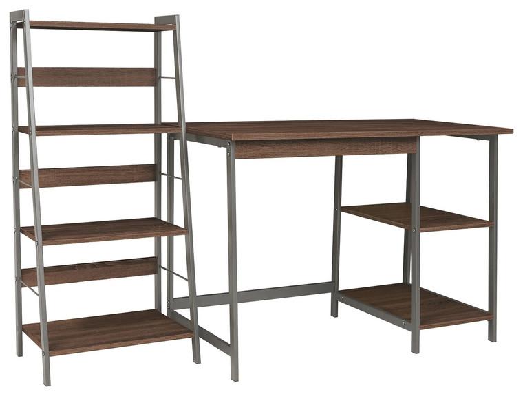 Soho Home Office Desk and Shelf | Warm Brown/Gunmetal | Z1710162