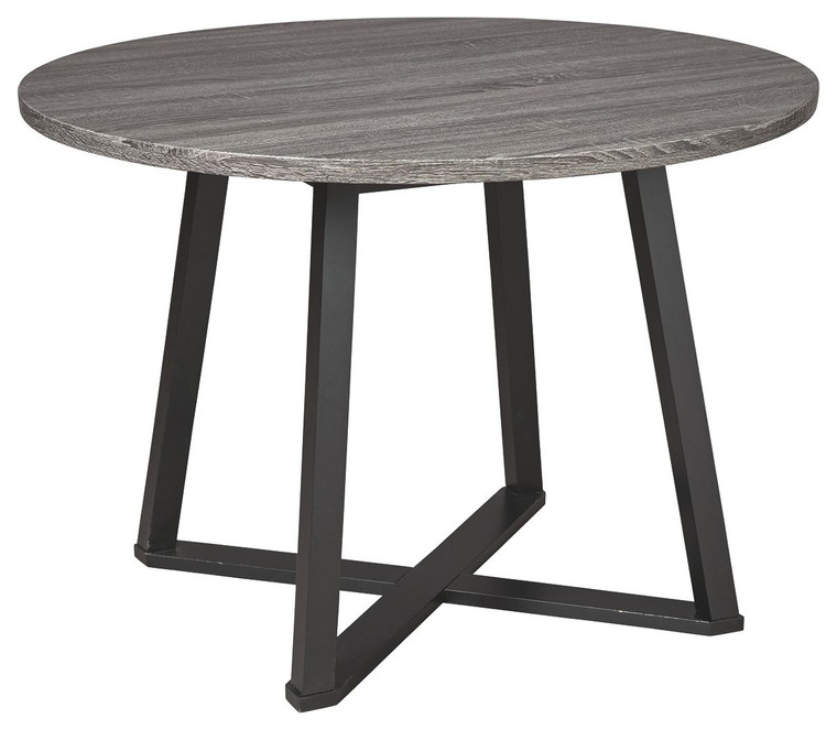 Centiar Round Dining Room Table | Gray/Black | D372-16