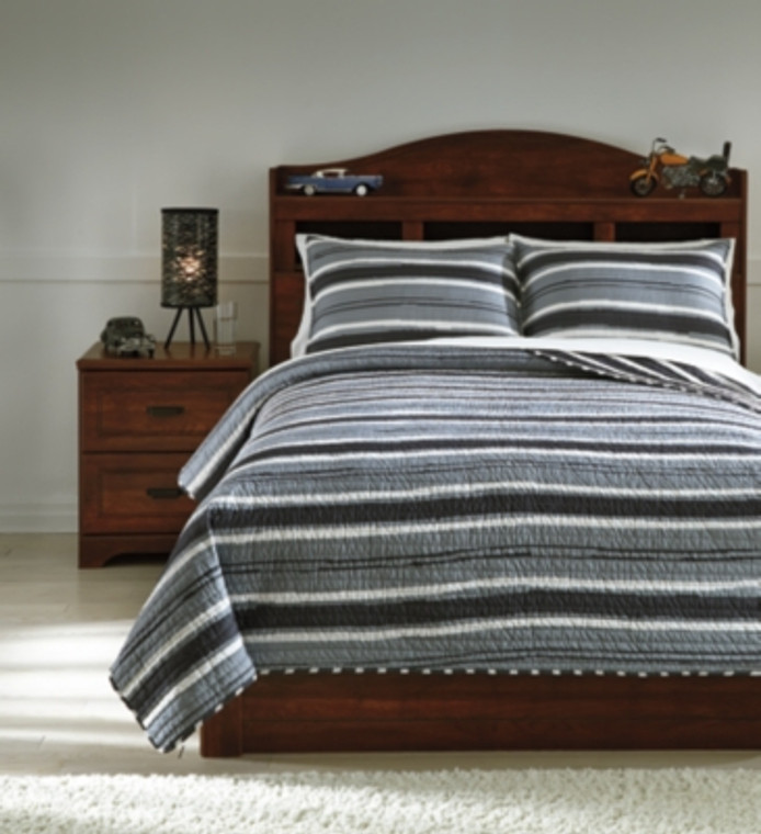 Merlin 3-Piece Full Coverlet Set | Gray/Cream | Q420003F