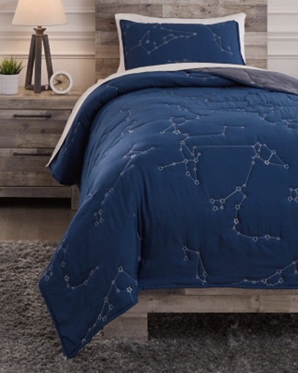 Ekin Twin Quilt Set | Navy/Gray | Q703001T