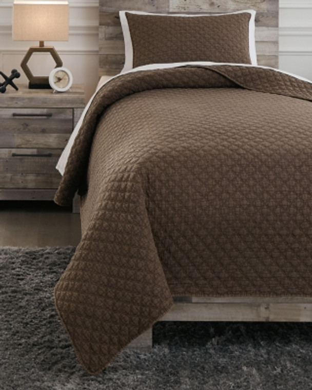 Ryter Twin Coverlet Set | Brown | Q722001T