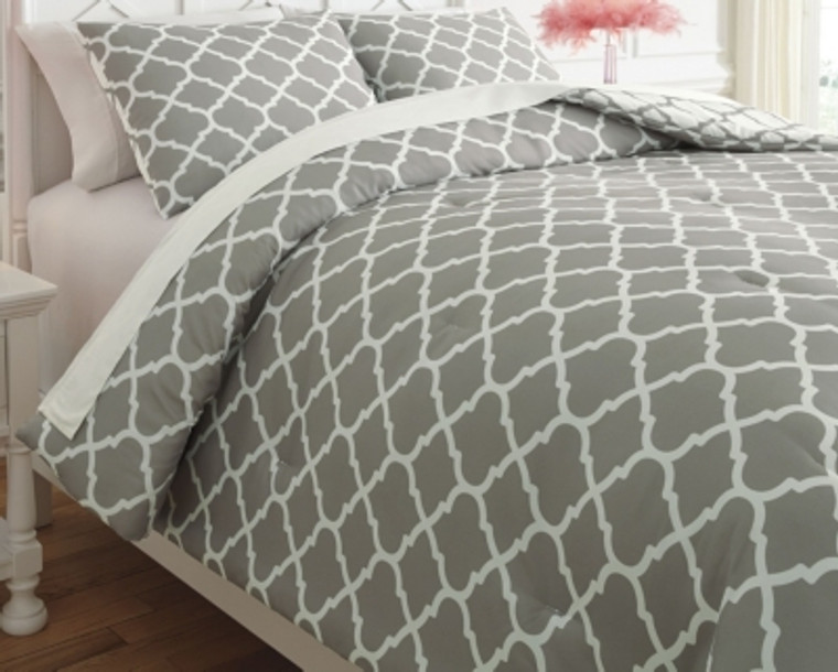 Media 3-Piece Full Comforter Set | Gray/White | Q790003F