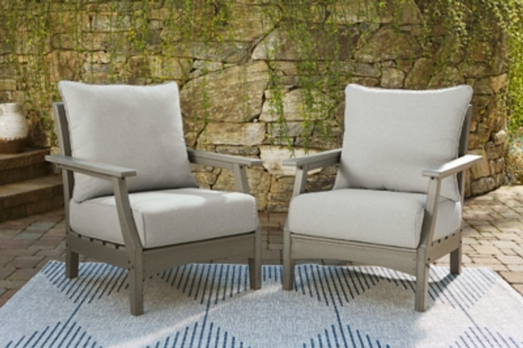 Visola Lounge Chair with Cushion (Set of 2) | Gray | P802-820
