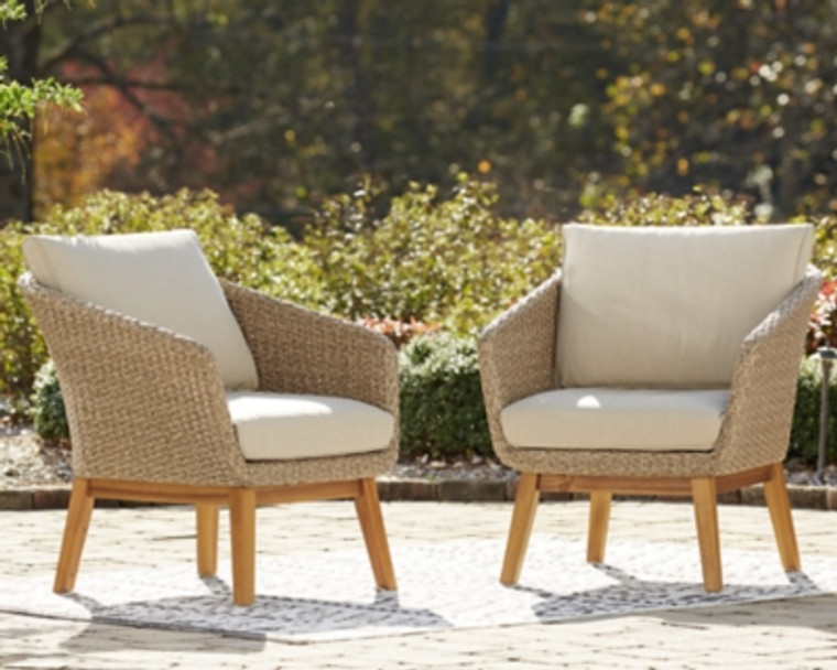 Crystal Cave Outdoor Lounge Chair with Cushion (Set of 2)   Beige   P350-820