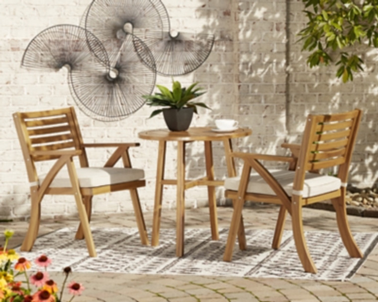 Vallerie Outdoor Chairs with Table Set (Set of 3) | Brown | P305-050