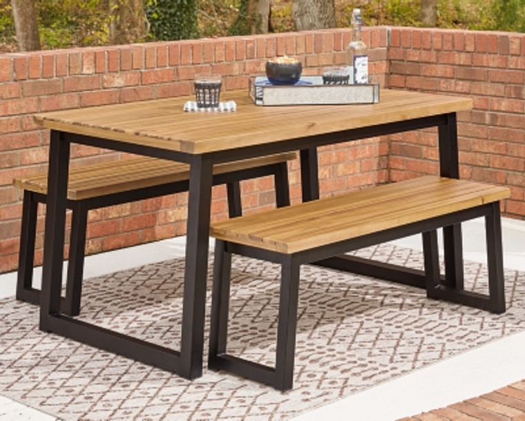Town Wood Outdoor Dining Table Set (Set of 3) | Brown/Black | P220-115