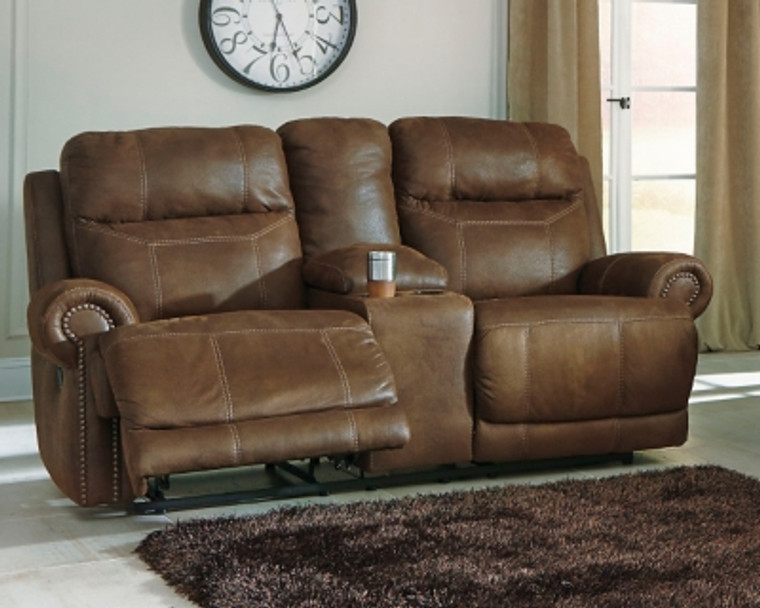 Austere Reclining Loveseat with Console | Brown | 3840094