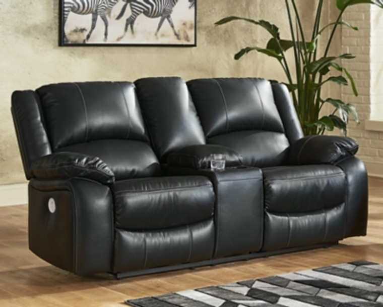 Calderwell Power Reclining Loveseat with Console | Black | 7710196