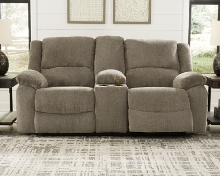 Draycoll Reclining Loveseat with Console | Pewter | 7650594