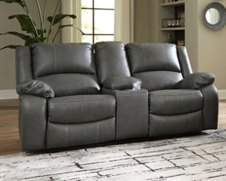 Calderwell Power Reclining Loveseat with Console   Gray   7710396