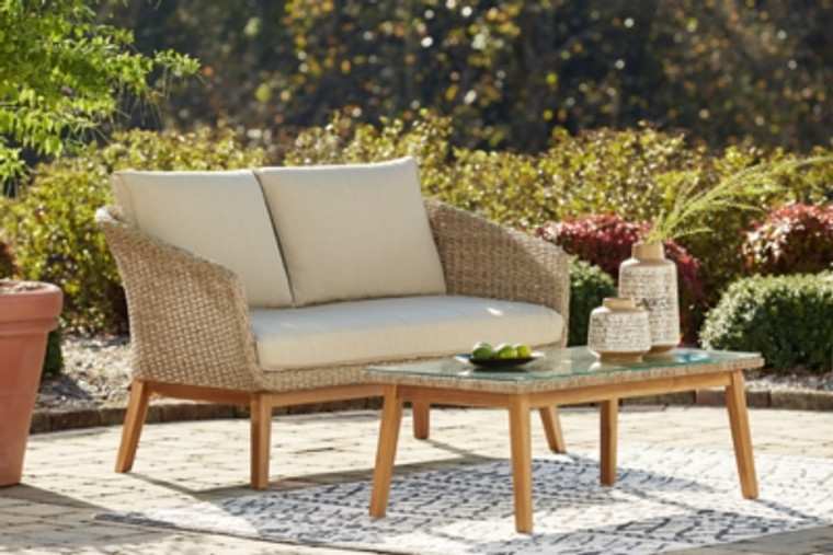 Crystal Cave Outdoor Loveseat with Table (Set of 2) | Beige | P350-035