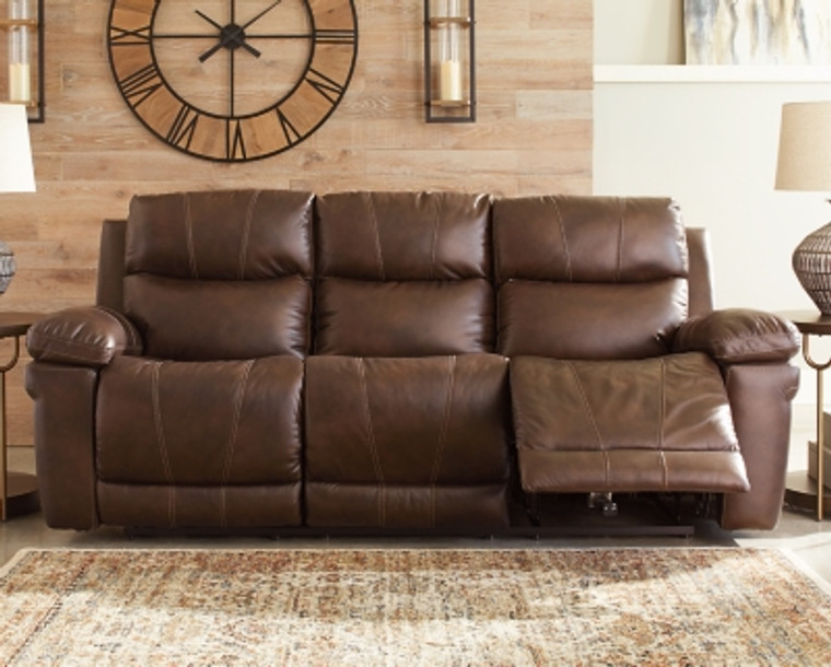 Edmar Power Reclining Sofa   Chocolate   U6480515