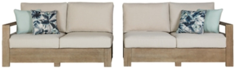 Silo Point Right-Arm Facing/Left-Arm Facing Outdoor Loveseat with Cushion (Set of 2)   Brown   P804-854
