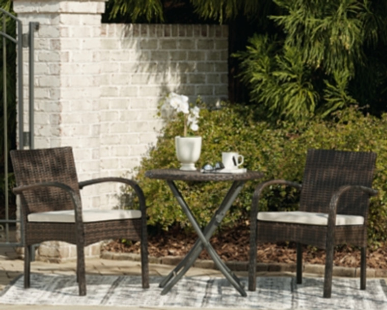 Anchor Lane Outdoor Chairs with Table Set (Set of 3) | Brown | P309-050