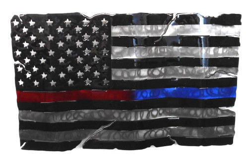Blue And Red Line Flag