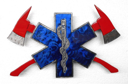 EMT With Crossed Fire Axes