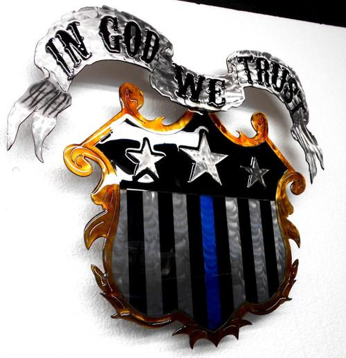 In God We Trust Blue Line Shield