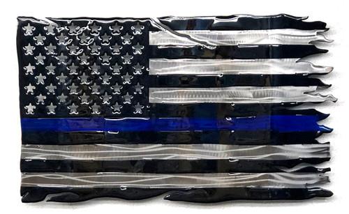 Tattered Blue Line Flag