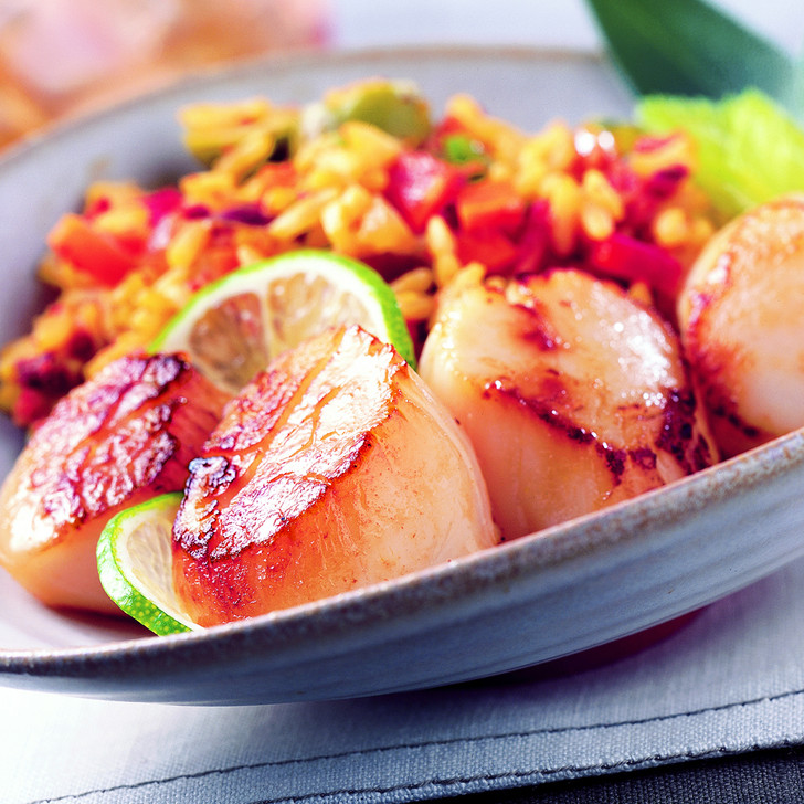Large plump Alaska scallops within a large clam shell with sliced limes.