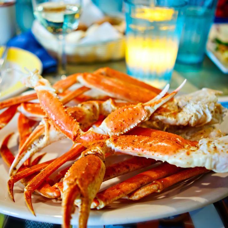 A platter of fresh Alaska snow crab legs & claws.