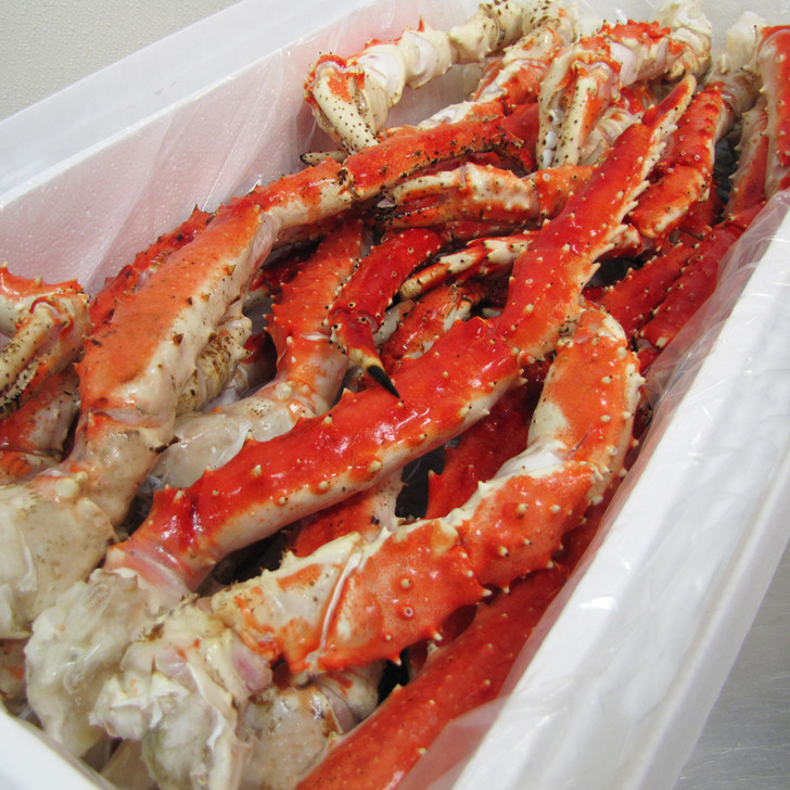 Case of Alaska red king crab legs & claws.