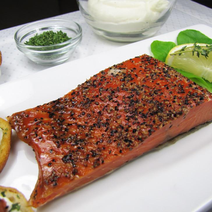 Garlic pepper smoked Yukon salmon portion.