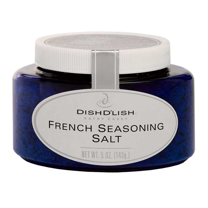 Blue container of Dish D'Lish French seasoning salt.