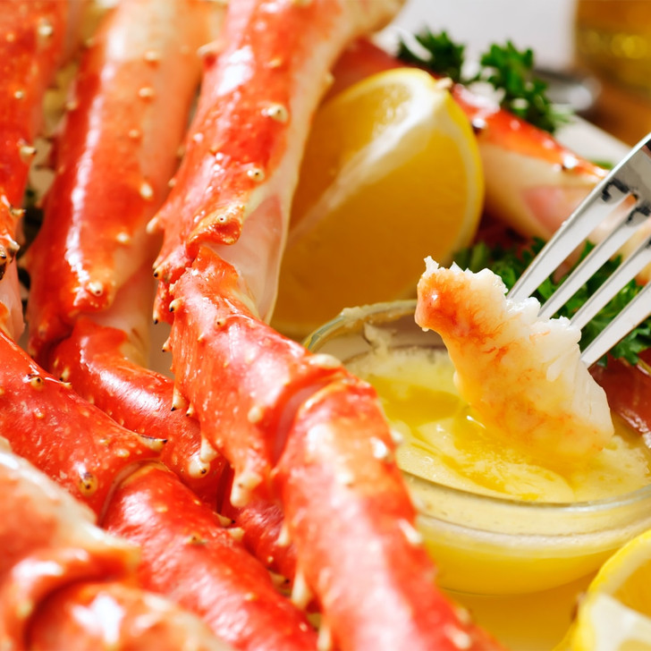 Alaska Red King Crab Legs with melted butter.