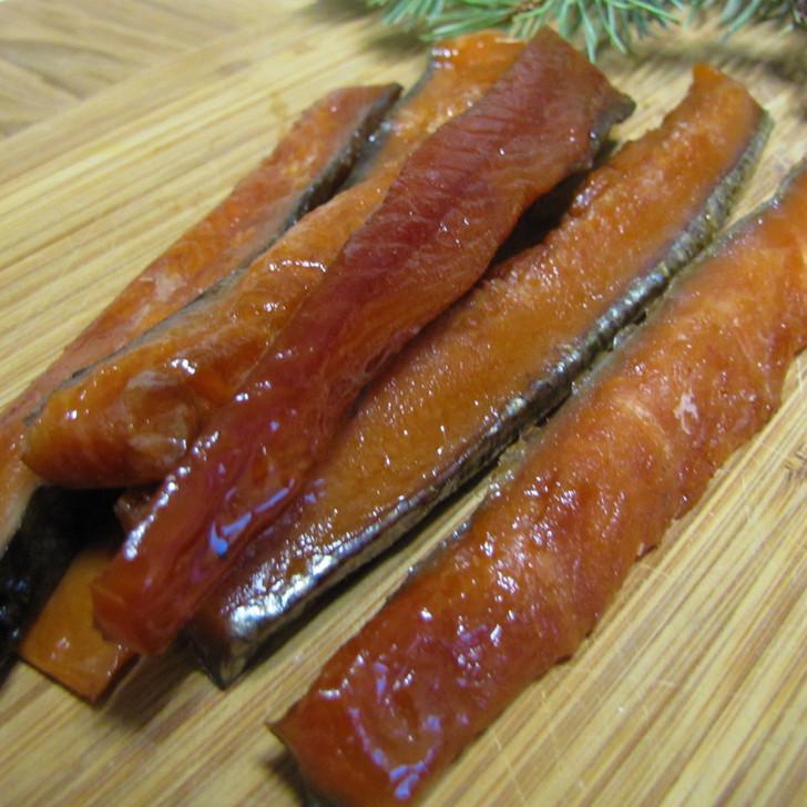 A pile of smoked Alaska king salmon strips